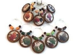 thanksgiving wine glass charms fall leaves wine glass markers