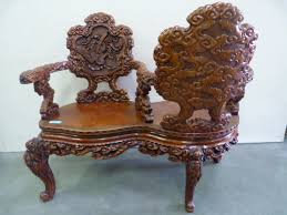 a 19th century fine carved chinese bench sizes 1 45 m wide and
