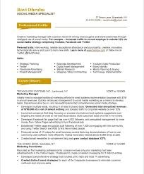 Sample Marketing Resumes by Social Media Marketing Resume Sample Free Resumes Tips