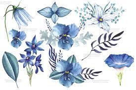 wedding flowers clipart botanical blue flowers clipart wedding flower paint summer