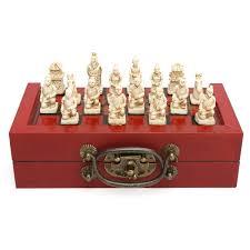 32 pieces chess set terra cotta warriors figure chinese wood