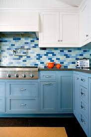 Turquoise And Orange Kitchen by Interior Tesoro Unique Shapes Blue Glass Tile Glossy Marine