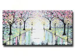 Contemporary Art Home Decor Giclee Print Abstract Art Painting Pink Cherry Trees Canvas Prints