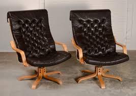 Scandinavian Leather Chairs Mid Century Pair Of Scandinavian Leatherette Swivel Relax Chairs
