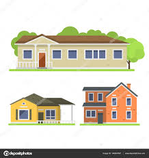 Home Design Stock Images by Cute Colorful Flat Style House Village Symbol Real Estate Cottage