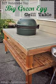 concrete wood table top diy big green egg table with concrete top gray table home