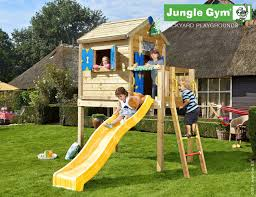 wooden playhouse jungle gym