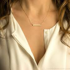 Gold Name Bar Necklace Minimal Delicate Necklace Blank Or From Layered And Long