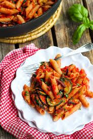 roasted zucchini u0026 eggplant puttanesca pasta the pioneer woman