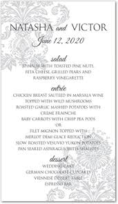 wedding menu templates wedding menu card templates do it yourself and template
