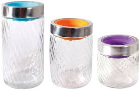 imperial home swirl glass 3 piece kitchen canister set u0026 reviews