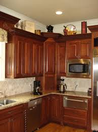 Kitchen Corner Cabinet by 53 Cherry Corner Cabinet With Appliance Garage
