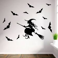 large removable vinyl child room decor witch bats wall sticker