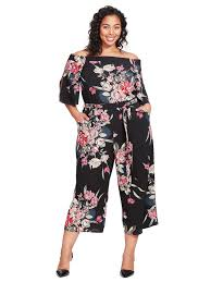 jumpsuit in city chic floral the shoulder cropped jumpsuit in