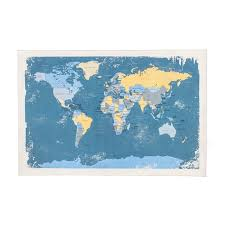 Canvas Map Of The World by Blue World Map Canvas