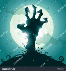 halloween background zombie hand on full stock vector 209542312
