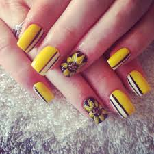 88 amazing sunflower nail art design for this summer 2017