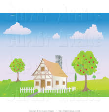 avenue clipart of a chalet house with a white picket fence between