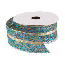 wired ribbon teal with gold wired ribbon the container store