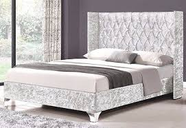 double winged upholstered fabric bed frame velvet chenille double