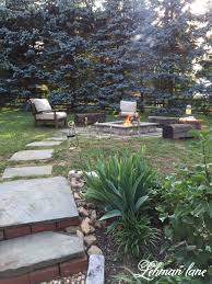 Stone Patio With Fire Pit Stone Patio Diy Fire Pit U0026 Wood Beam Benches Lehman Lane