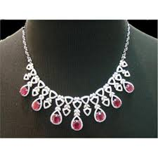 diamond ruby necklace sets images Jewellerynet 18k white gold necklace set with ruby amp diamond jpg