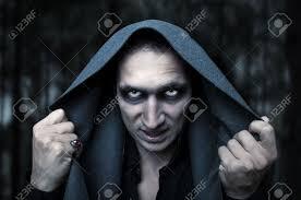 portrait horrible fashion male vampire demon or evil wizard