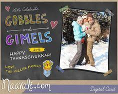 thanksgiving and hanukkah 2013 digital card by naavale on etsy