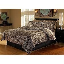 amazon com black brown comforter set leopard print microfur bed