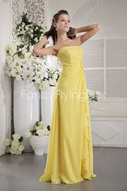 form fitting bridesmaid dresses form fitting strapless neckline a line length yellow chiffon