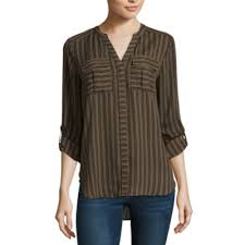 brown blouse a n a 3 4 sleeve v neck georgette blouse jcpenney