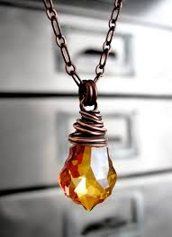 jewelry crystal necklace images Amber orange crystal pendant necklace rust orange wire wrapped jpg