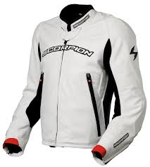 white motorcycle jacket scorpion exowear assailant leather motorcycle jacket white