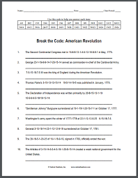 american revolution code puzzle worksheet is free to print pdf