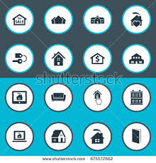 Comfortability Synonyms Vector Illustration Set Simple Property Icons Stock Vector