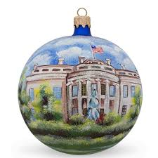 4 white house washington dc glass ornament