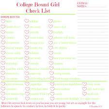 College Packing Checklist Bess U0027 Bag College Bound Printable Checklist