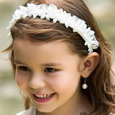 white flower headband white flower girl headbands wedding hair accessories for children