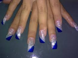 acrylic nails designs with diamonds and blue blue acrylic nail