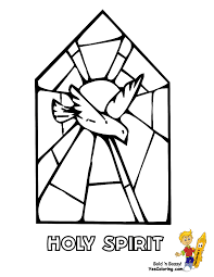 stained glass window with holy spirit coloring page for coloring