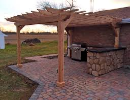 Stone Kitchen Island by Beauteous Brown Color Wooden Outdoor Kitchen Pergola Featuring