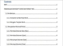 membuat daftar isi table of contents di word 2007 cara membuat daftar isi dengan menggunakan table of content