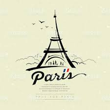 eiffel tower sketch design on cream recycle paper stock vector art