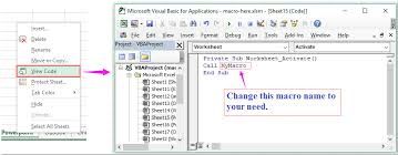 how to run macro when sheet is selected from a workbook