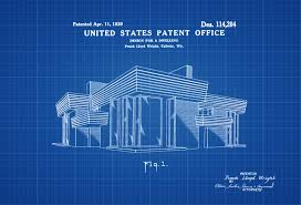 frank lloyd wright house design patent decor patent print wall