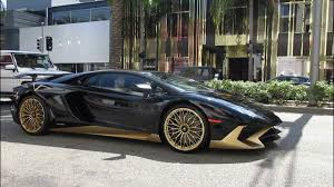 gold lamborghini black u0026 gold lamborghini aventador sv in beverly hills youtube
