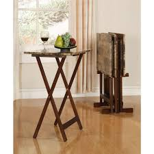 linon home decor tray table set faux marble in brown 43001tilset