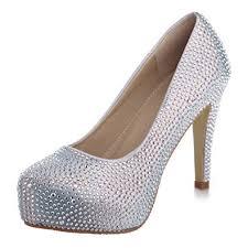 wedding shoes jeweled heels velcans fashion rhinestone womens platform high