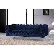 meridian mercer navy velvet sofa free shipping today overstock
