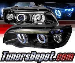 bmw x5 headlights spec d halo projector headlights black 01 03 bmw x5 e53 lhp